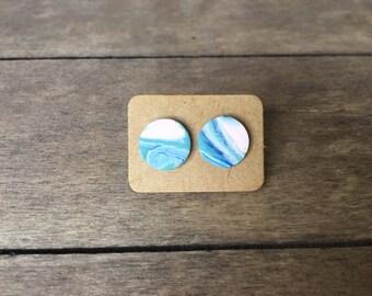 Beach Bliss Marble Clay Stud Earrings