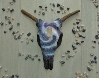 Small Faux Cow Skull 'Nova' - Decorative Skull - Hand Sculpted Clay - Hand Painted - Unique Home Decor - Faux Taxidermy - OOAK