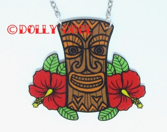 Tiki necklace with hibiscus flowers Rockabilly by Dolly Cool
