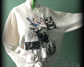 White  Hand Painted Tacky Blue Jay Punk Patched Ugly Sweater