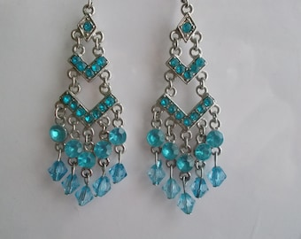 Silver Tone Chandelier Earrings with Blue Crystal Dangles