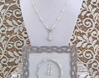 Aventurine, Pearl & Sterling Silver Flower Matching Set (Necklace, Bracelet, Earrings)