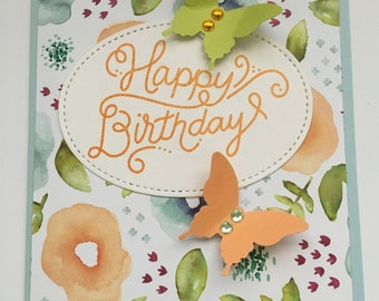 Butterflies and Blooms Birthday Card