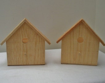 Unfinished Pair Rustic Wood Birdhouse Planter