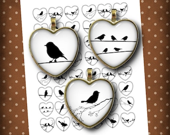 Birds on a Wire - Heart Shaped images Digital Collage Sheet  Bird Silhouettes 1 inch images for Glass Pendants - Instant Download