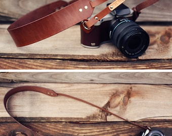 Custom Leather Camera Strap, Skinny, Thin Camera Strap, personalized gift, Brown, Tribal hipster aztec mirrorless, Custom text name initials