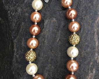 Fall bubblegum necklace, earth tones chunky necklace, earth necklace, brown tones, fall chunky necklace, brown and cream chunky necklace