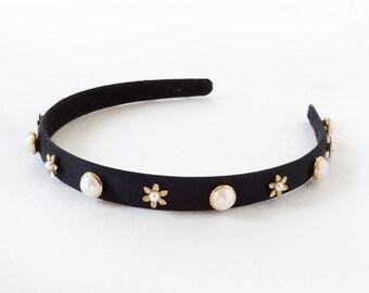 classic black headband, womens headbands, black hair accessories, gold flowers / pearls, headbands for women, jeweled headband, pearls