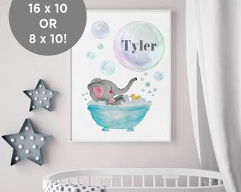 Baby Elephant Decoration Printable - Personalized for You 16x20 or 8x10