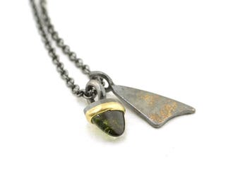 Forest Mini Talisman Tourmaline Charm Necklace Lichen Triangle Pendant Nature Jewelry Branch Sterling Silver 18 karat gold