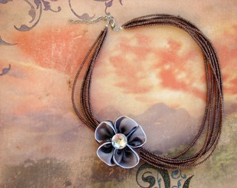 SALE - Brown and Lavender Flower 6-Strand Beaded Necklace with Removable Pin Brooch - Bella Mia Beads - READY to SHIP