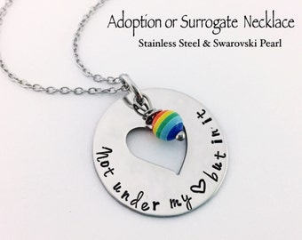 Adoption or Surrogate NECKLACE... Hand Stamped Stainless Steel and Swarovski Birthstone Pearl