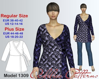 Wraparound Tunic PDF sewing pattern, Women's sizes 12-22, Plus size Tunic pattern PDF