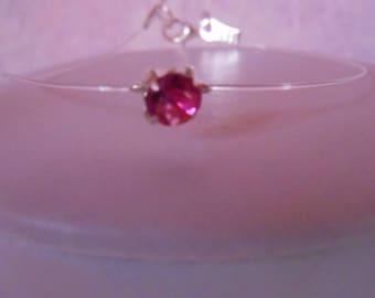 Elegant solitaire bracelet fuchsia rhinestones