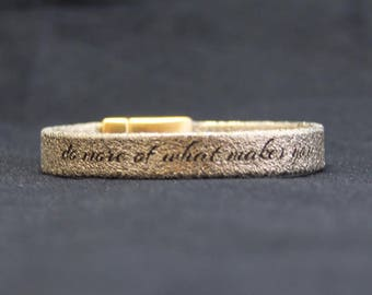 distressed gold leather bracelet - personalised with your name, phrase or date
