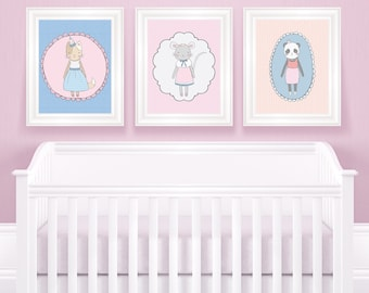 Cute animal wall art, wall print, nursery wall art, girls room, wall print set, girls wall print, kids art print, girls decor, baby girl art