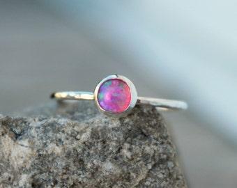 Sterling Silver PINK OPAL RING - gemstone stacking ring - thin gemstone rings - opal stacking rings - thin stacking gemstone rings-stackable