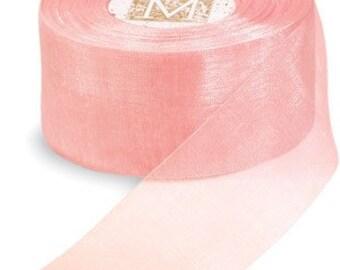 3/4 inch wide  Organdy Ribbon by MIDORI of Japan Peach
