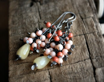 Pink Cluster Earrings Butterscotch Coral Aragonite Swarovski Pearls Silver Long by Letemendia Jewelry