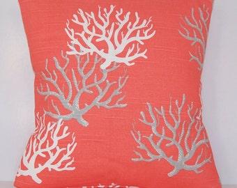 Coral Pillow Cover - Salmon PILLOW - Euro - Various Sizes - Sham -  Pillow Cover - Nautical - Beach - Accent Pillows - 20x20,18x18,22x22