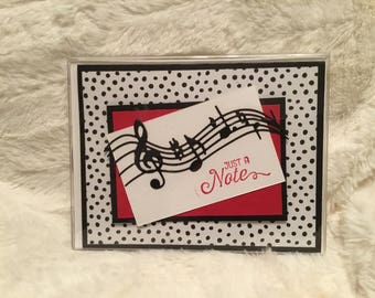 5 handmade 'just a note' blank greeting cards with matching envelopes