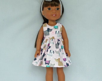 Puppies on Parade Pink Doll Dress Handmade To Fit 14.5 Inch Dolls Like Wellie Wishers