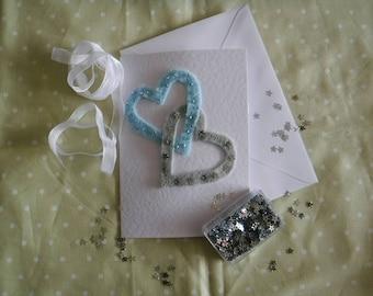 Handmade felt entwined hearts wedding card