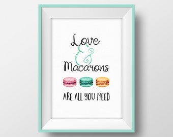 French Macaron Print, Macaroon printable, Macaron Illustration, Pastry Poster, Food Art, Kitchen Wall Art, French Decor, Instant Download