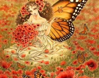 Free Shipping to US - Monarch Butterfly Fairy and Red Poppies Fantasy Art - Romanza - 5x7 Signed Fantasy Art Print - by Mitzi Sato-Wiuff