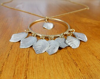 Oversized Leaf Necklace, Simple Jewellery, Gift for Her, Nature Lover, Leaves Pendant, Statement Jewellery, Long Necklace