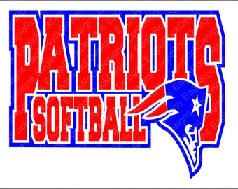 Patriots Softball SVG, DXF, EPS, Png Cut File for Cameo and Cricut, Softball Svg, Softball Mom Svg, Patriots Svg, Instant Download