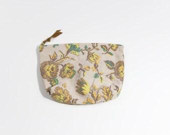 Pixélisé jaune Floral tissu Vintage sac cosmétique