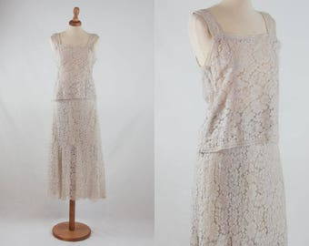 70s lace dress, vintage dress, two pieces dress, chantilly lace, lace maxi dress, sartorial dress, ivory dress, precious lace, free shipping