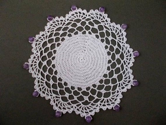 White Crochet Beaded Jug Cover With Lilac Beads Beaded Glass