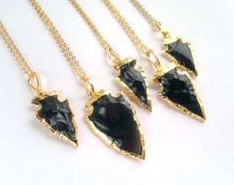 Black Obsidian Arrowhead Necklace Arrowhead Jewelry Gold Dipped Arrowhead Obsidian Tribal Necklace Tribal Jewelry Mineral Necklace Stone