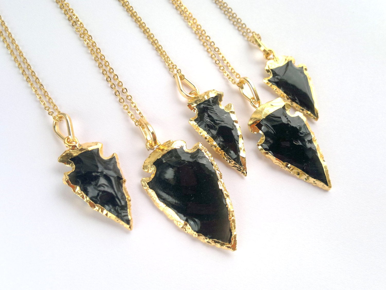 Black obsidian arrowhead necklace arrowhead jewelry gold zoom aloadofball Image collections