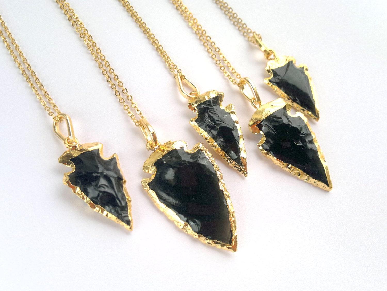 Black obsidian arrowhead necklace arrowhead jewelry gold zoom aloadofball Gallery