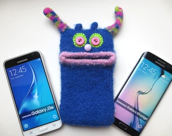 "Smartphone monster ""Zita"", knitted, felted, Mobile, Samsung Galaxy S5, S6, S6 Edge, S8, Galaxy A5, bag, sleeve, mobile phone monster, felt"