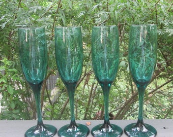 Four Vintage Tall Green Wine Glasses - Green/ Teal Wine Glasses - Libbey Glassware - Wedding Gift