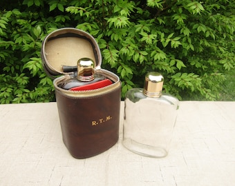 Vintage RTM dual flask with metal shot glass lids and zip up carrying case circa 1970's men's gift idea grooms gift