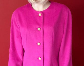 1980s hot pink cashmere jacket UK 14-16
