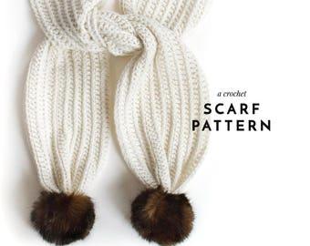 CROCHET PATTERN,  Crochet Scarf Pattern, Crochet Pompom Scarf Pattern, Crochet, Scarf Pattern, Crochet Pompom Scarf