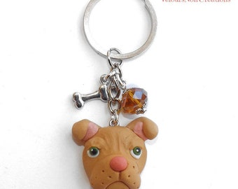 American pit bull terrier keychains polymer clay