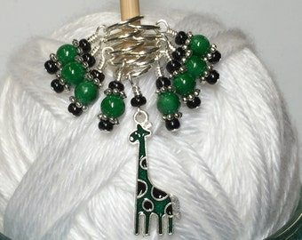 Gifts for Knitters- Snag Free Green Giraffe Beaded Stitch Markers- Animal Knitting Markers