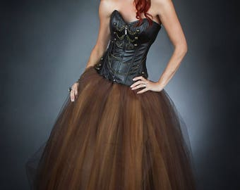 Size Medium Brown and Gold Steam punk leather burlesque corset Chain prom dress full length Ready To Ship