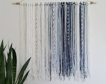 Tapestry, Bohemian Yarn Tapestry, Yarn Wall Hanging, Blue, Cream, White, Watercolor Tapestry