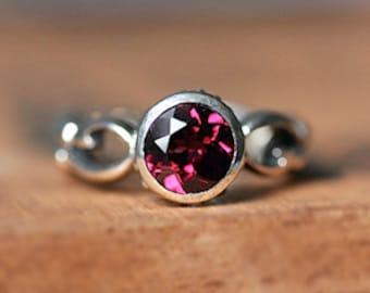 Rhodolite garnet ring silver, bezel set stone ring, January birthstone ring, bezel set ring, recycled silver infinity ring, unique Wrought