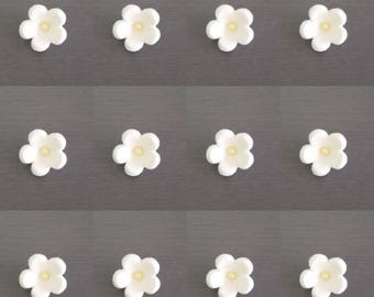 12 x White Blossom Flower Cupcake and cake toppers,  Edible flowers, fondant flowers, flower decorations, flower toppers, woodlands party