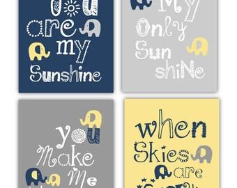 Yellow Navy Gray Art for Kids // Elephant Art // Elephant Nursery Decor // Navy and Yellow Nursery Art // You are my sunshine 4-8x10 PRINTS