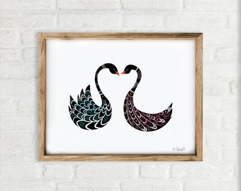 Art Print, Black Swans Print, Love Print, Wall Art, Home decor